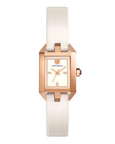 Dalloway Leather Strap Watch, White/Rose-Golden