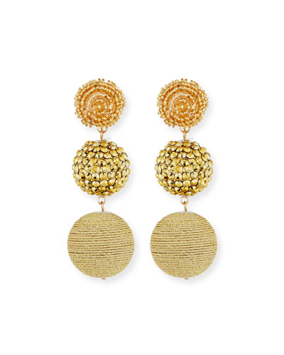 Beaded Golden Triple-Drop Earrings
