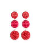 Beaded Three-Drop Ball Earrings
