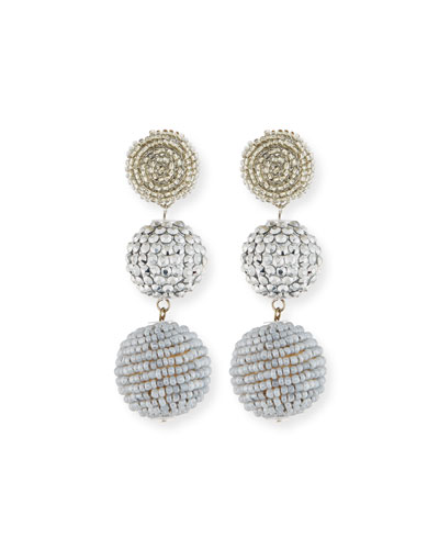 Beaded Silvertone Triple-Drop Earrings