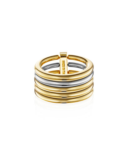 Shinola Illusion Stacked 14K Gold Coin-Edge Ring idsfHd
