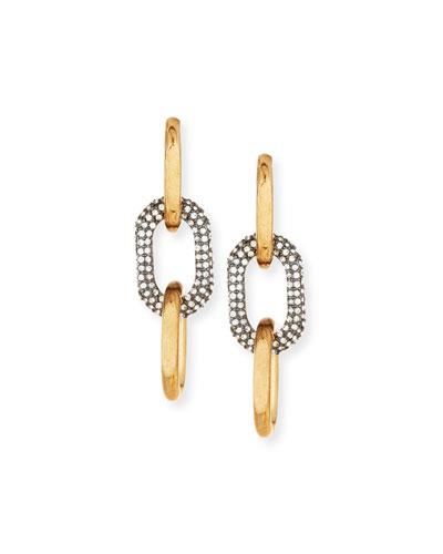 Two-Tone Pavé Link Drop Earrings