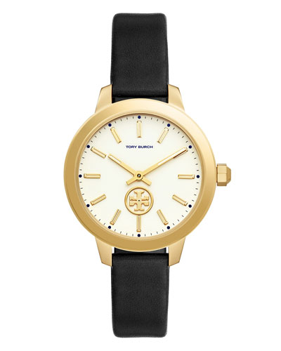 Collins Black Leather Strap Watch