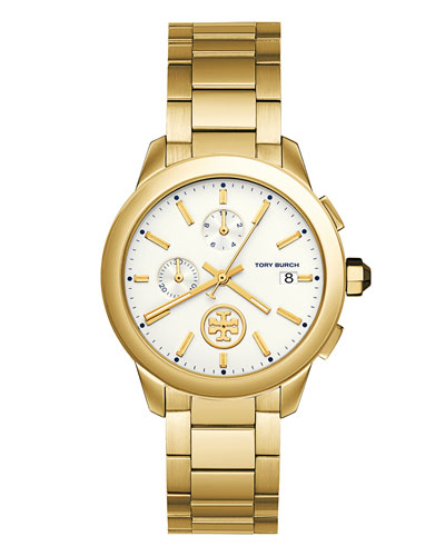 Collins Chronograph Bracelet Watch, Golden/White
