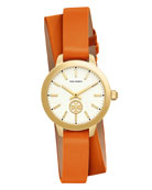 Collins Orange Double-Wrap Leather Two-Hand Watch