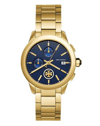 Collins Chronograph Bracelet Watch, Golden/Navy
