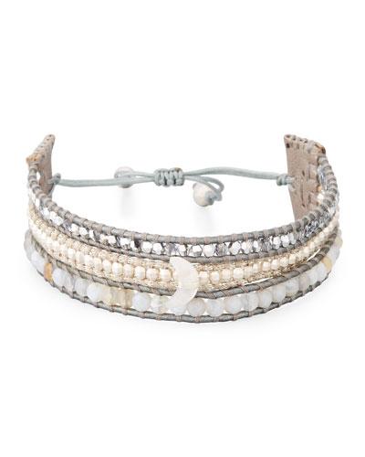 Three-Strand Pull-Tie Bracelet in Gray Agate