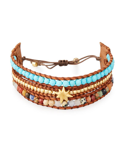 Three-Strand Pull-Tie Bracelet in Turquoise