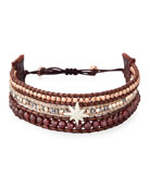 Three-Strand Pull-Tie Bracelet in Dark Red