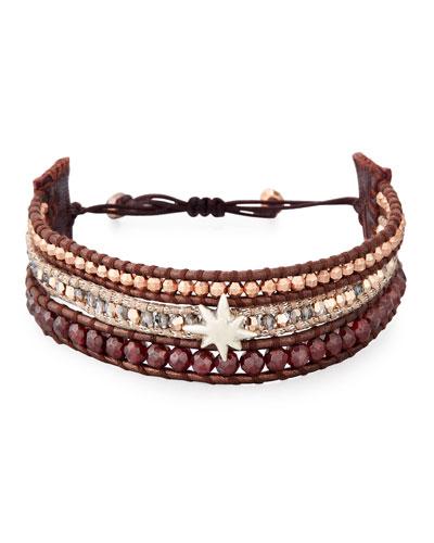 Three-Strand Pull-Tie Bracelet in Dark Red