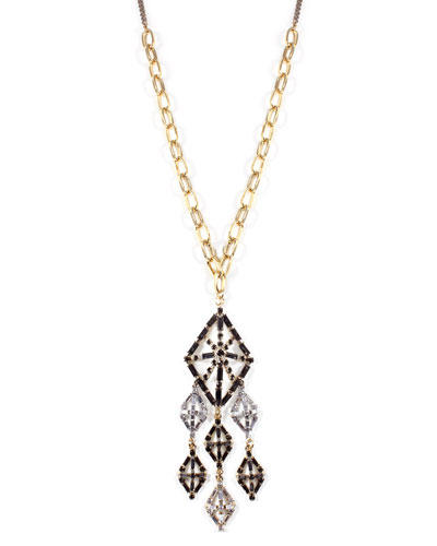 Gloria Long Crystal Pendant Necklace