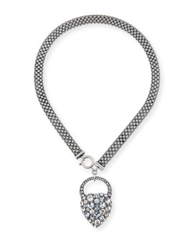 Nina Crystal Heart Lock Necklace