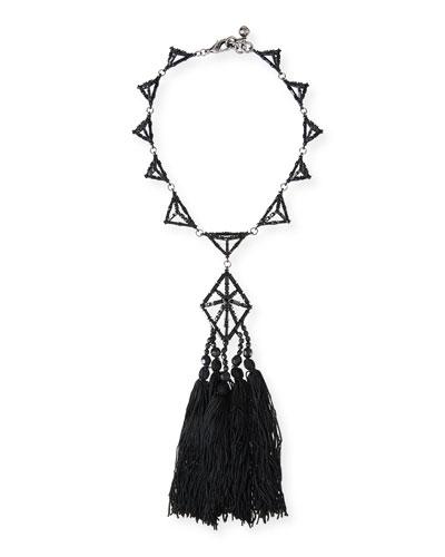 Helena Crystal Tassel Necklace