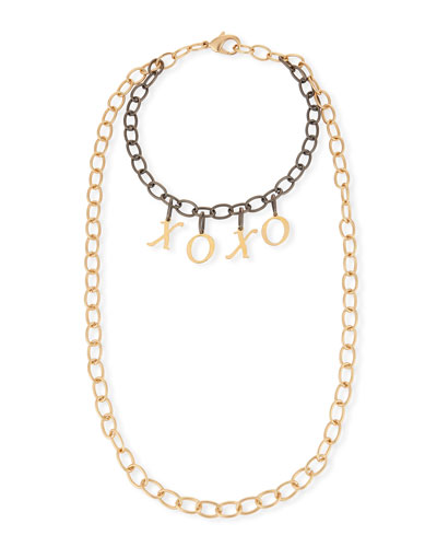 Eugene Two-Tone XOXO Chain Necklace