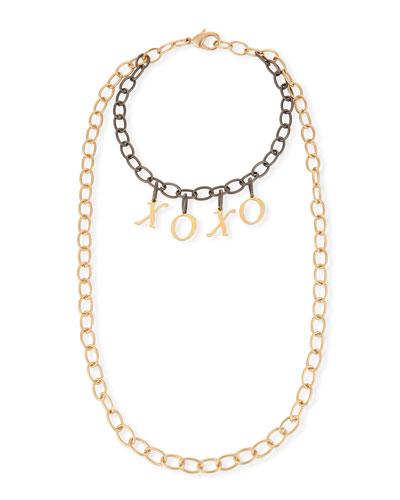 Eugene Two-Tone XOXO Chain Necklace