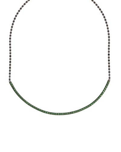 Electric Circle Bar Choker Necklace with Green Tsavorite