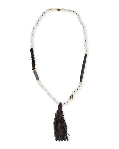 Long Paper Moonstone Beaded Necklace with Leather Tassel