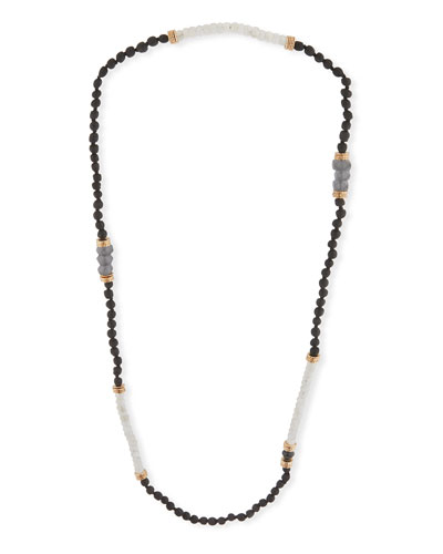 Long Moonstone Beaded Necklace