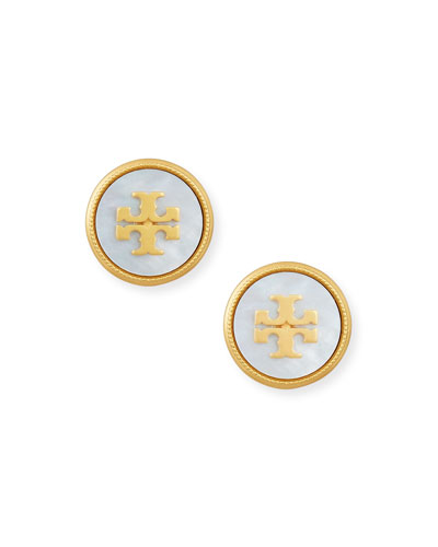 Mother-of-Pearl Logo Stud Earrings