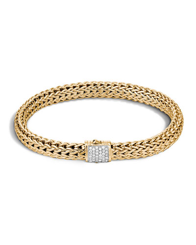 Small Classic Chain Gold Bracelet w/ Pave Diamond Clasp, Size M