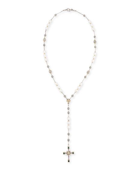 Konstantino Pearl Lariat Cross Necklace