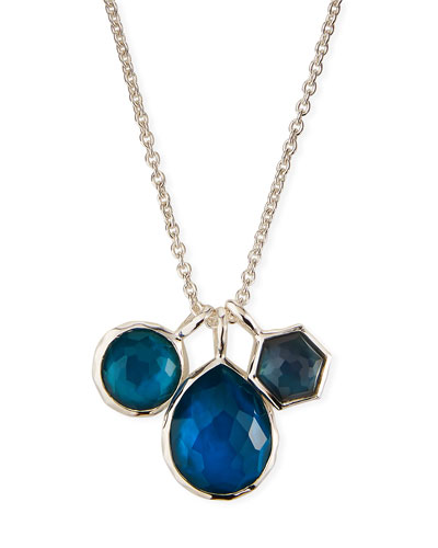 925 Wonderland Three-Stone Necklace in Indigo