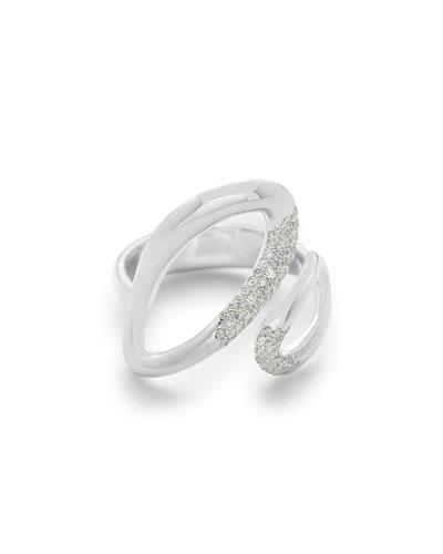 Cherish Small Bypass Ring with Diamonds