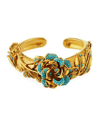 Golden 3D Crystal Rose Bracelet