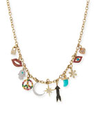 Multi Charm Necklace with Diamonds