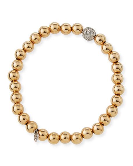 Sydney Evan 7mm Beaded Golden Ball Bracelet with Diamond Bead