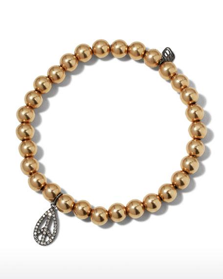 Sydney Evan 6mm Golden Beaded Bracelet with Diamond Teardrop Peace Charm