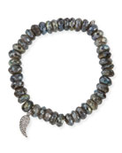 8mm Faceted Round Labradorite Beaded Bracelet with Diamond Wing Charm