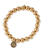 8mm Golden Beaded Bracelet with Diamond Eye Medallion Charm