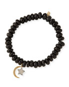 8mm Spinel Beaded Bracelet with Diamond Moon & Star Charms