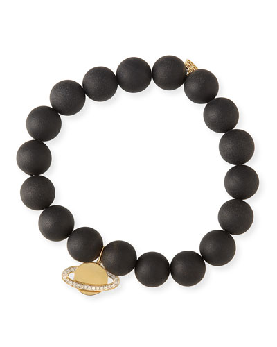 10mm Matte Black Onyx Beaded Bracelet with Diamond Saturn Charm