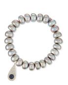 10mm Pearl Bracelet with Teardrop Eye Charm