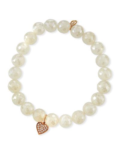 Diamond Heart & Pearly Chalcedony Bracelet