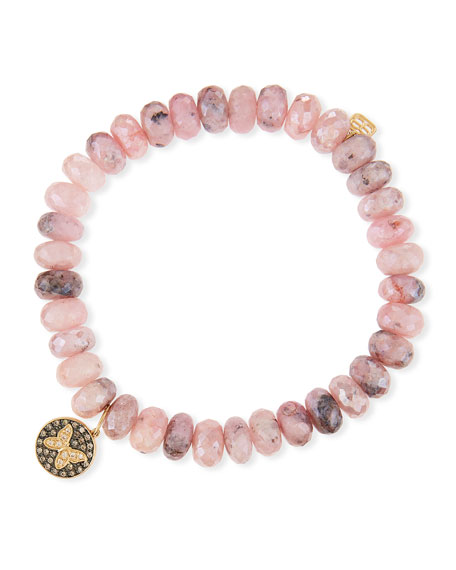 Sydney Evan 8mm Mystic Pink Graptolite Bead Bracelet with Butterfly Charm