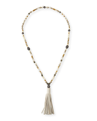 Hipchik Capri Beaded Leather Tassel Necklace