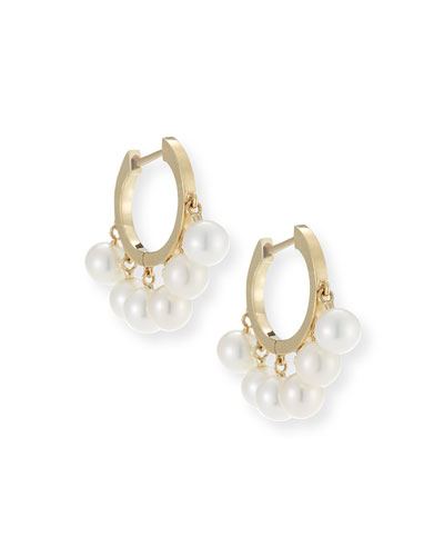 Pearl Tassel Huggie Hoop Earrings