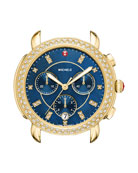 Sidney 18K Watch Head with Diamonds, Gold/Navy