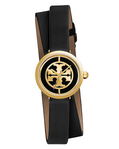 The Reva Leather Wrap Watch, Black/White/Golden