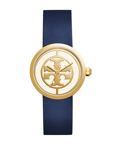 The Reva Three-Hand Leather Strap Watch, Blue/Golden