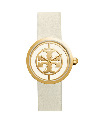The Reva Three-Hand Leather Strap Watch, White/Golden