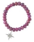 9mm Pink Sapphire Beaded Bracelet with Diamond Starburst Charm