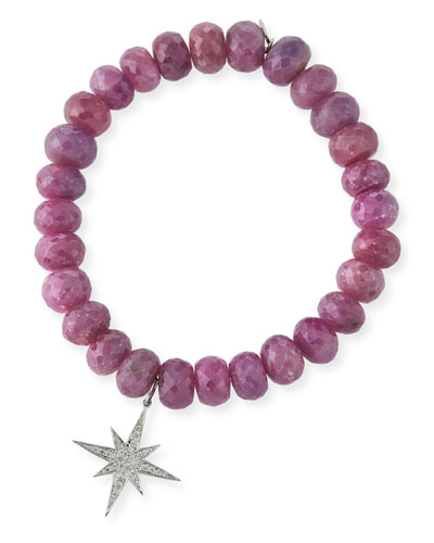 9mm Pink Sapphire Beaded Bracelet with Diamond Starburst Charm