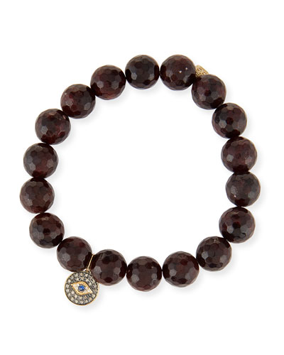 10mm Faceted Garnet Bracelet with Diamond Evil Eye Medallion Charm