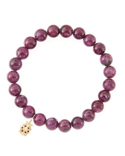 10mm Natural Ruby Beaded Bracelet with 14k Gold/Diamond Medium Ladybug Charm