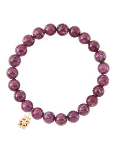 10mm Natural Ruby Beaded Bracelet with 14k Gold/Diamond Medium Ladybug Charm