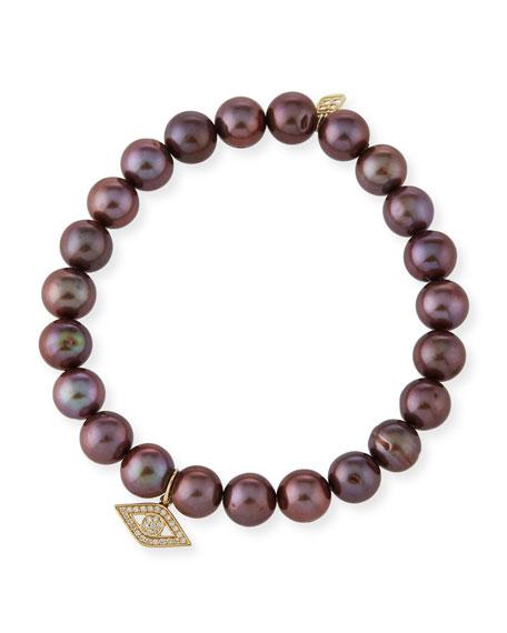Sydney Evan Anniversary Brown Pearl Bracelet with Diamond Evil Eye Charm